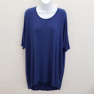LuLaRoe Irma XL Solid Print Blue Top